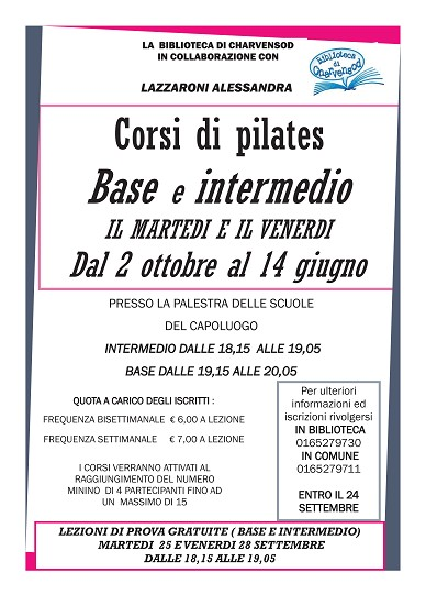Corso di pilates base e intermedio